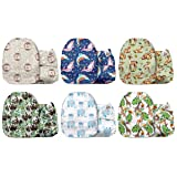 Mama Koala One Size Baby Washable Reusable Pocket Cloth Diapers, 6 Pack with 6 One Size Microfiber Inserts (Wild Fun) (Color: Wild Fun, Tamaño: One Size)
