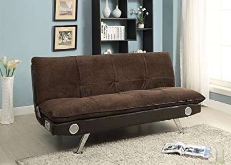 Furniture of America Nuvia Futon Sofa with Bluetooth Speaker System, Dark Brown