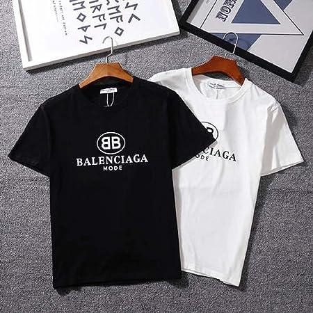 Balenciaga バレンシアガ Tシャツ トップス メンズ 半袖 プリント 男女兼用 スウェット ブラック [並行輸入品]