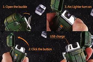 Dual Arc Lighter Double Arc Plasma USB Lighter Rechargeable Flameless Waterproof Stormproof Windproof Mini Electric Lighter for Cigar Candle Cigarette Pipe Sport Outdoor(Orange) (Color: Orange)