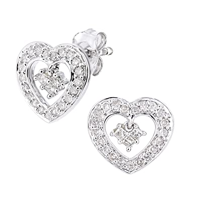 Naava 9ct White Gold Diamond Heart Charm Earrings PE05612W
