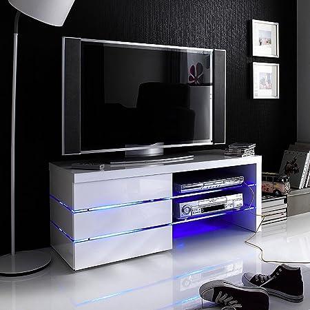Robas Lund TV-Lowboard Sonia Hochglanz weiß LED Effektbeleuchtung blau 110 x 42 x 44 cm 59057W11