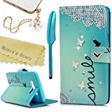 Mavis's Diary J7 Case,Samsung Galaxy J7 (2016) J710M Case 3D Handmade Wallet PU Leather with Bling Crystal Butterflies Diamonds Card Holders Flip Cover with Cute Dust Plug & Stylus Pen (Color: One Combination)