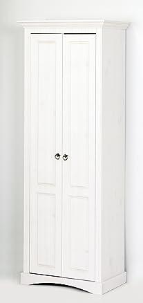 Armadio guardaroba in legno massello, colore: Bianco