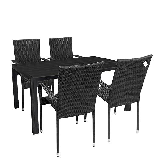5tlg. Gartengarnitur Sitzgruppe Aluminium Gartentisch Tischplatte Polywood 150x90cm stapelbare Rattansessel Stapelstuhl Polyrattan Gartenstuhl stapelbar Terrassenmöbel Sitzgarnitur