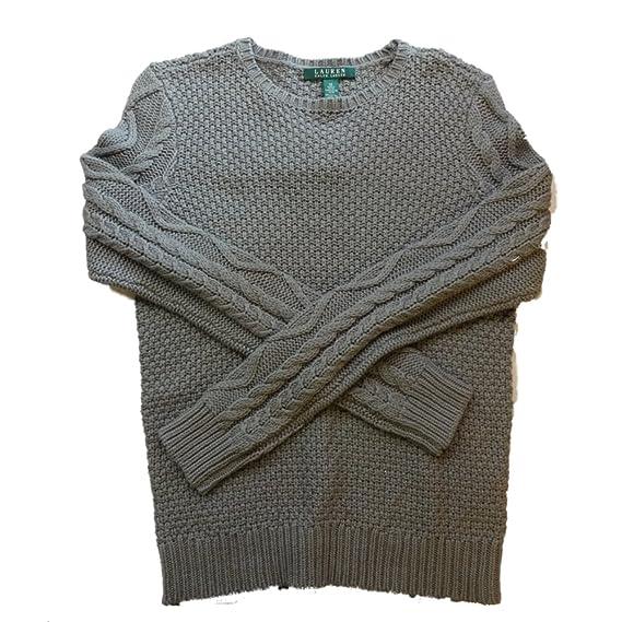 Lauren Ralph Lauren Olive Green Cotton Sweater Medium