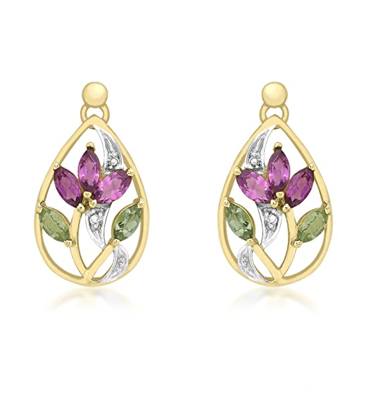 Carissima Gold 9ct Yellow Gold Diamond with Pink and Green Tourmaline Flower Drop Earrings