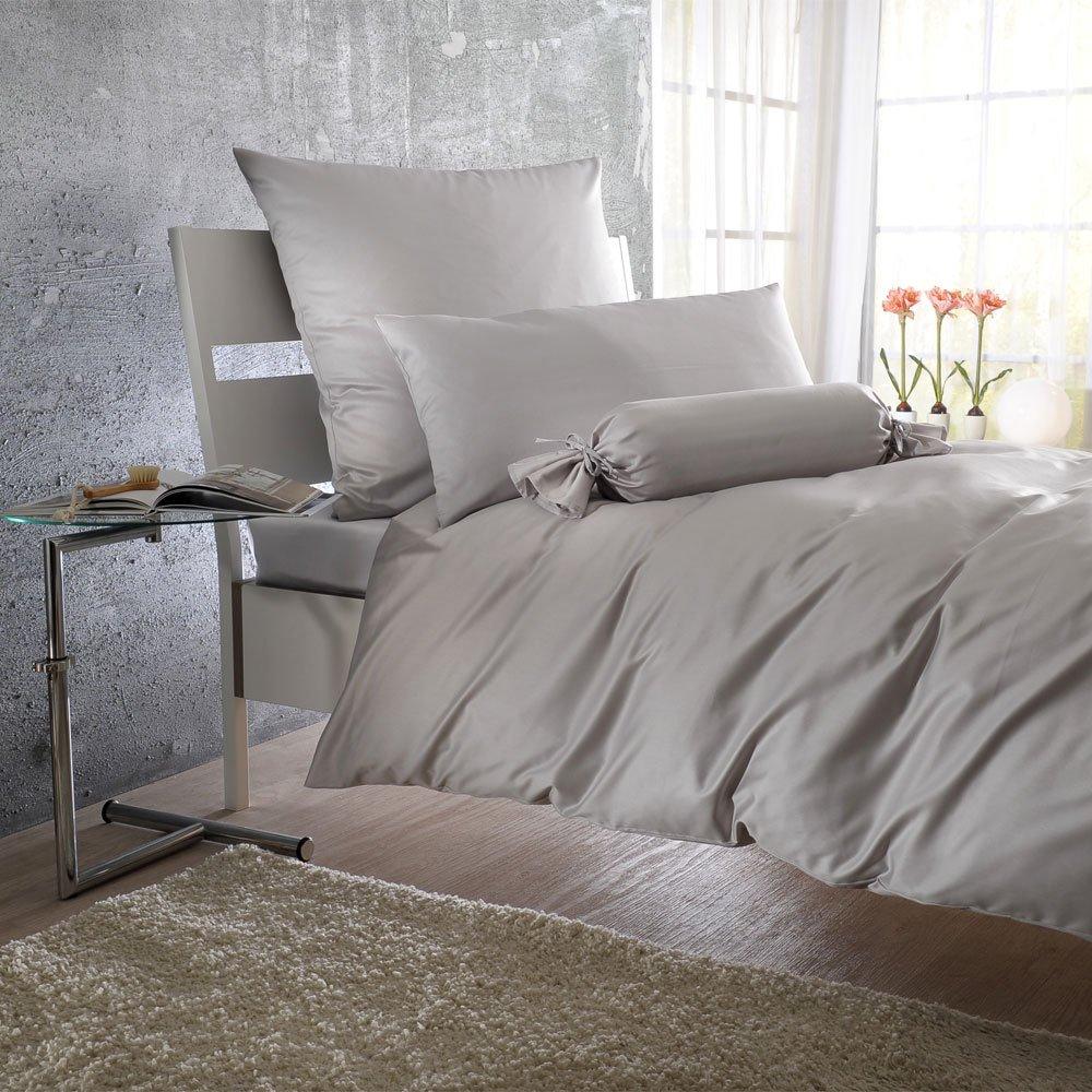 BettwarenShop Uni MakoSatin Bettwäsche silber Bettbezug einzeln 155x220 cm    Kritiken und weitere Infos