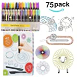 Linktor Drawing Gear Deluxe Set with 48 Colored Pens Set, Drawing Aid Art Design Training Ruler Kit for Kids Art Enlightenment (Color: Deluxe Set, Tamaño: Arial Toys & Games Ltd96)
