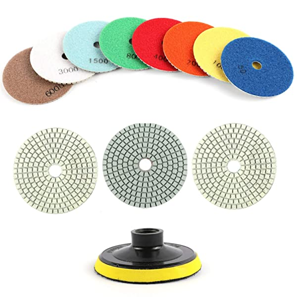 Houseables Diamond Polishing Pads, Granite Grinding Wheels, 4 Diameter, 11 Pk Plus Backer Pad, Color Coded, 3MM Thickness, Variable Speed Grinder Kit, Marble, Concrete, Stone, Wet, Dry, Countertop