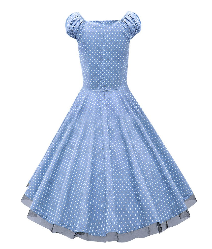 LECHEERS Women Polka Dot 1950's Vintage Swing Party Casual Dress 1