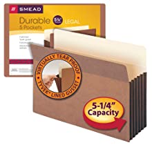 "Smead File Pocket, Straight-Cut Tab, 5-1/4"" Expansion, Legal Size, Redrope, 5 per Pack (74885)"