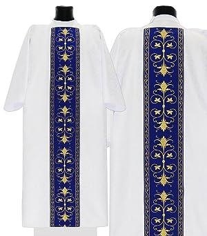 White/blue Marian Gothic Dalmatic Vestment D561-BN25 (white/blue) (Color: white/blue)