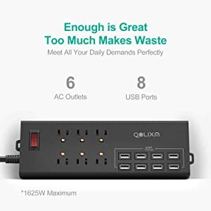 Power Strip, QOLIXM Surge Protector with 8 USB Charging Ports & 6 Outlets, Heavy Duty 6ft Long Extension Cord, 1625W/13A, for Smartphone, Tablet, Laptop, Workshop (Black) (Color: black)