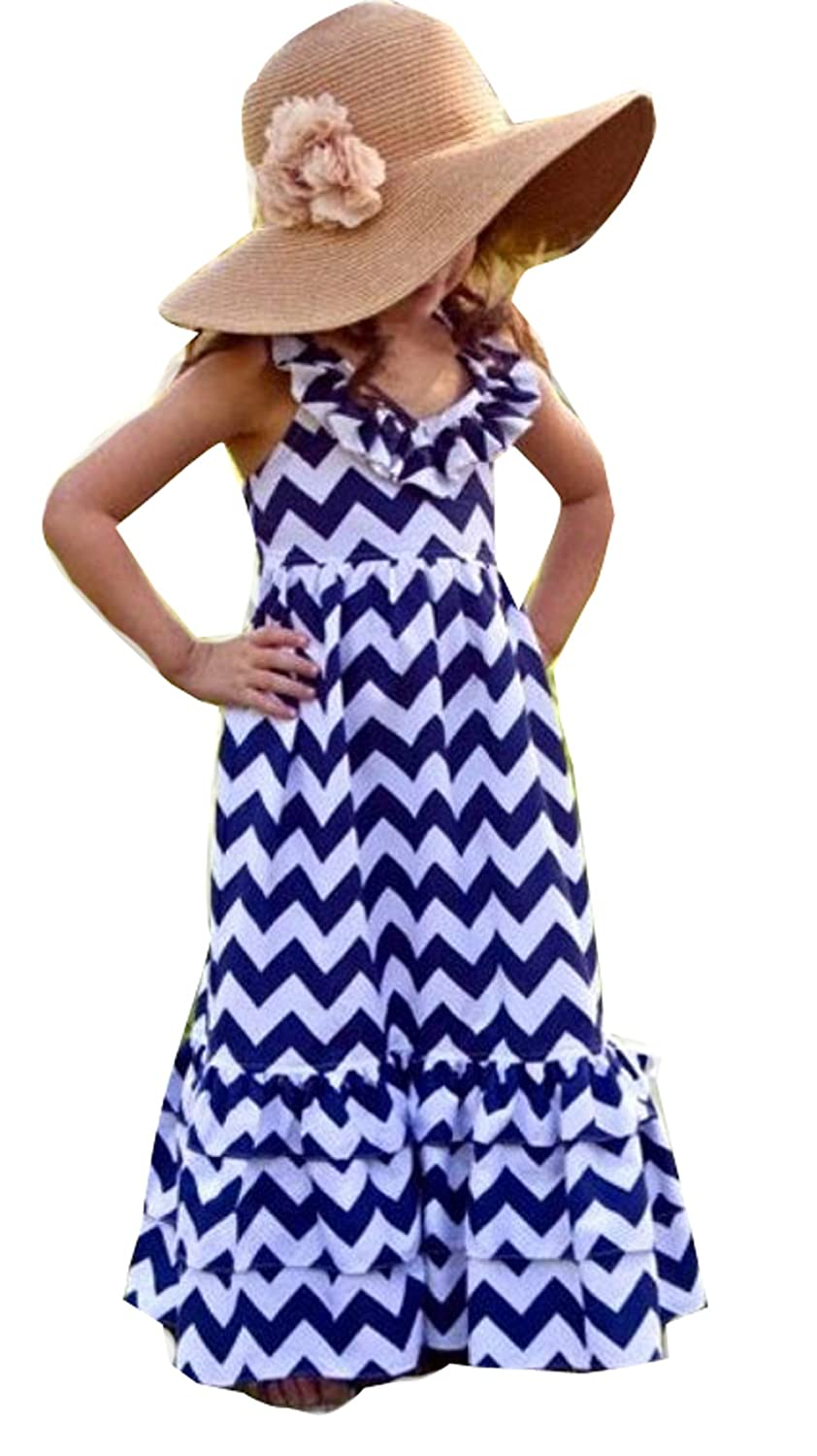 Kids Girls Backless Wave Stripe Maxi Long Sundress Boho Dress Skirt