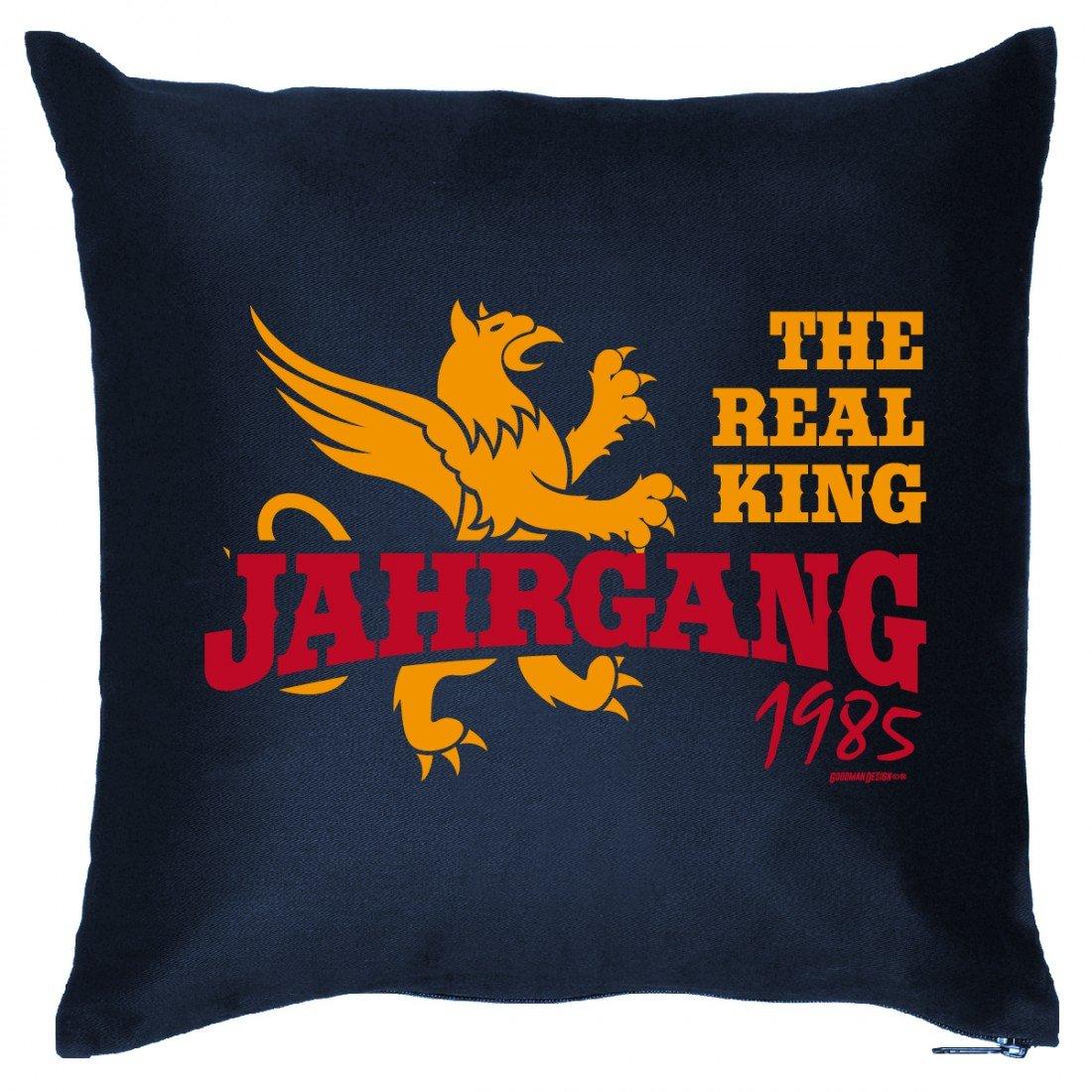Couch Kissen mit Jahrgang zum Geburtstag - The real King Jahrgang 1985 - Sofakissen Wendekissen mit Spruch und Humor
