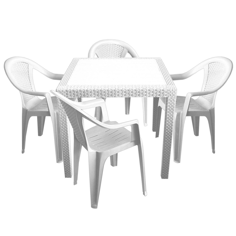 5tlg. Gartengarnitur aus Vollkunststoff Gartentisch 79x79cm mit Rattan-Look + 4x Stapelstuhl Weiß Gartenmöbel Terrassenmöbel Balkonmöbel Set Sitzgarnitur Sitzgruppe