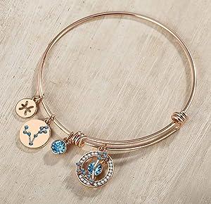 Jenny-BaBy Stainless Steel Birth Stone Bangle Bracelet Open-size Adjustable March