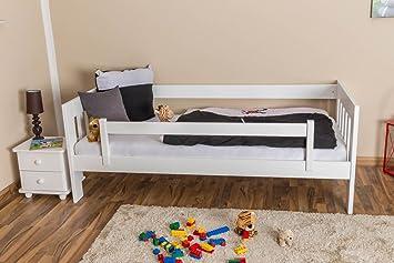 Kinderbett / Juniorbett Kiefer massiv Vollholz weiß lackiert 95, inkl. Lattenrost - Abmessung 90 x 200 cm