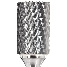 Bassett Cylindrical Solid Carbide Bur, Uncoated (Bright) Finish, Double Cut, End Cut End