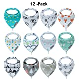 Baby Bandana Drool Bibs and Teething toys Made with 100% Organic Cotton, Super Absorbent and Soft Unisex (12-Packs No Teether) (Color: 12-packs No Teether, Tamaño: Large)