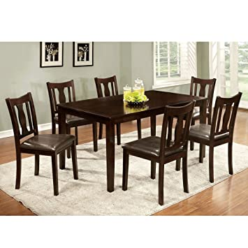 7 PC Dining Set Contemporary Padded Leatherette Seat Chairs Espresso