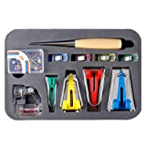 BUTUZE Fabric Bias Tape Makers Kit with Sewing Awl, Bead Needles,Adjustable Binder Clip,Wooden Awl,Foot Press -Practical Bias Tape Maker Set for Sewing/Quilting