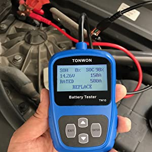 TONWON Car Battery Tester,OBD2 Scanner,Battery Load Tester for 12V Car and Light Truck Battery Health (Color: TW10)