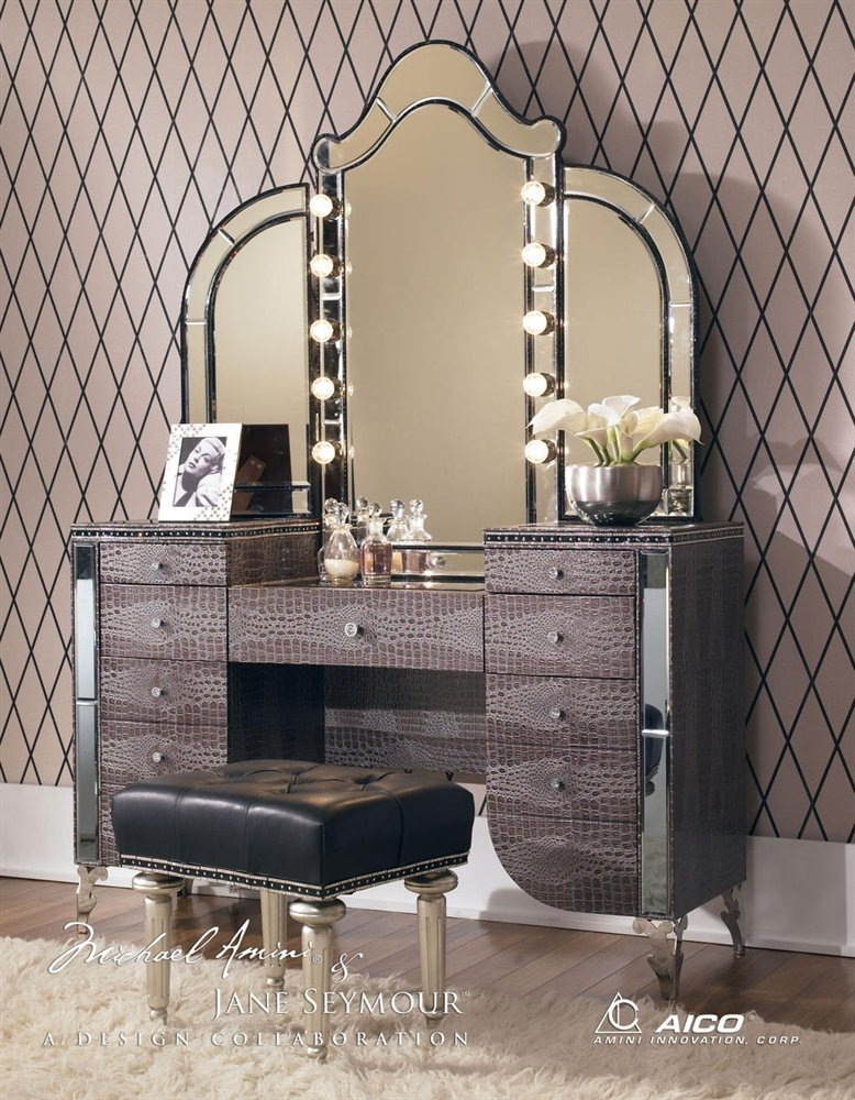Aico Hollywood Swank Vanity with Bench Set 3 Piece in Amazing Gator