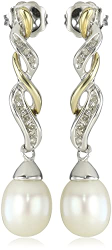 Sterling Silver and 14K Gold Freshwater Cultured Pearl and Diamond Drop Earrings