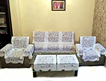 Buy ROSE PETAL POLYESTER NET SOFA SLIPCOVER SET WITH 6 ARMS COVER