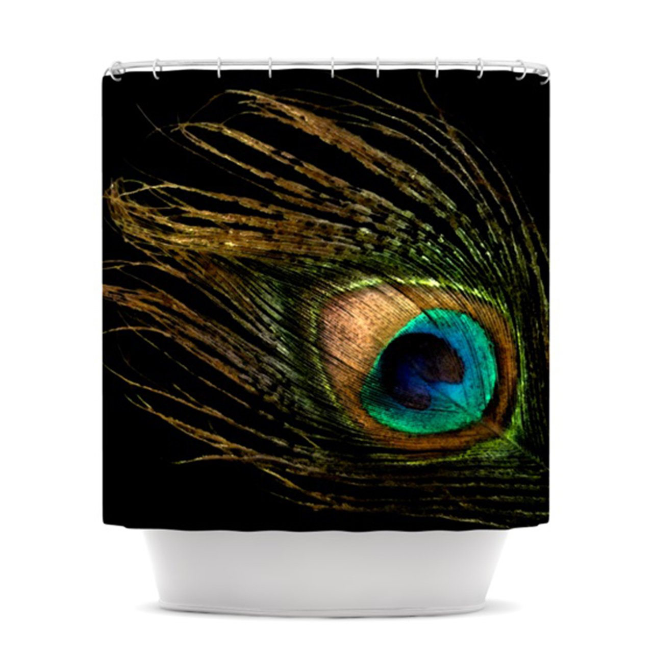 Alison Coxon Peacock Black Shower Curtain, 69 by 70-Inch