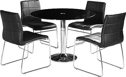 Stratford moderno negro cristal Circular mesa de comedor 4sillas en piel sintética negro