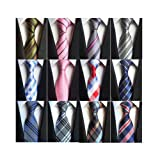 Weishang Lot 12 PCS Classic Men's 100% Silk Tie Necktie Woven JACQUARD Neck Ties (Style 4) (Color: Style 4, Tamaño: Medium)