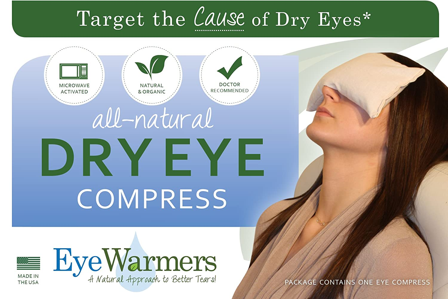 Dry Eye Compress, EyeWarmers Brand. All Natural, Dye-Free Warm Compress for Dry Eyes, Chalazion, Styes, Computer Vision Syndrome, or Tired Eye Relief mama licious пуловер