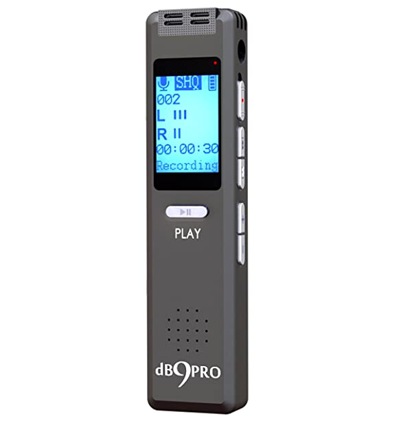 Best Voice Activated Recorder Device - for Clear Audio Recording in Meetings & Lectures, Portable Digital Dictaphone Mini mp3 Player, Ultra Sensitive Microphone, Earphones, USB Cable, by dB9PRO