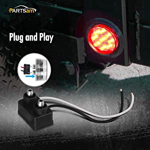 Partsam 5x 2 LED Marker Light Cab Panel Light 9 Diodes Sealed Round Clear//Red w Grommet//Pigtail 2 Mini-Reflex round sealed LED Side Marker Clearance or ID Light