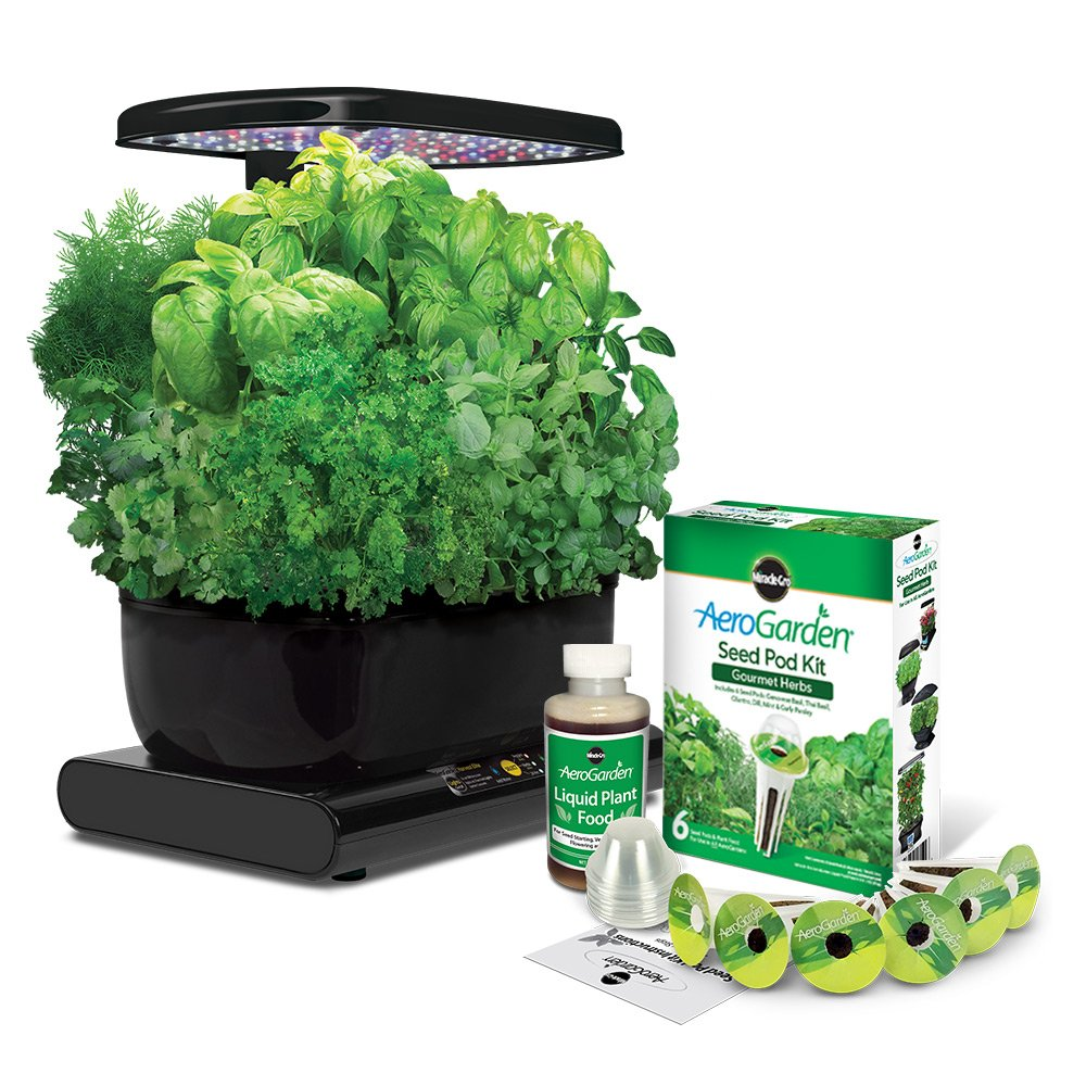 Awesome Miracle-Gro AeroGarden Harvest with Gourmet Herb Seed Pod Kit, Black