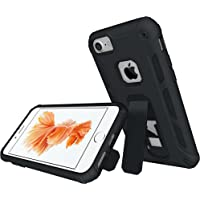 Vabogu Soft TPU & Hard PC Rugged Dual Layer Case with Kickstand for iPhone 7 & iPhone 6 (Black)