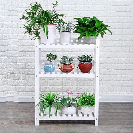 Weißer hölzerner Blumen-Standplatz Mehrgeschossiger Boden Multi - Blumen-Blumentöpfe Balkon Innen- und im Freien Wohnzimmer Hölzernes Blumen-Regal