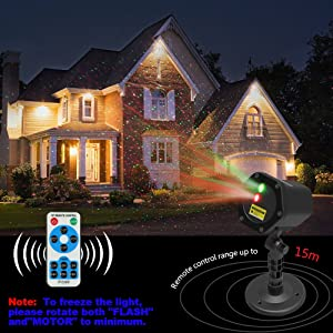 Christmas Laser Lights Halloween Starry Lights Red and Green Outdoor Garden Christmas Holiday Party Decoration Waterproof 5M Cable with RF Remote (Color: Red & Green, Tamaño: 12 Patterns)