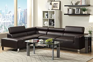 2Pc Sectional with Right-Facing Sofa in Espresso Finish