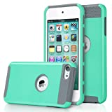 ULAK iPod Touch 5/6th Generation Case, Dual Layer Slim Protective Hybrid iPod Touch Case Hard PC Cover for Apple iPod Touch 5 6th Generation (Aqua Mint/Grey) (Color: Aqua Mint/Grey)