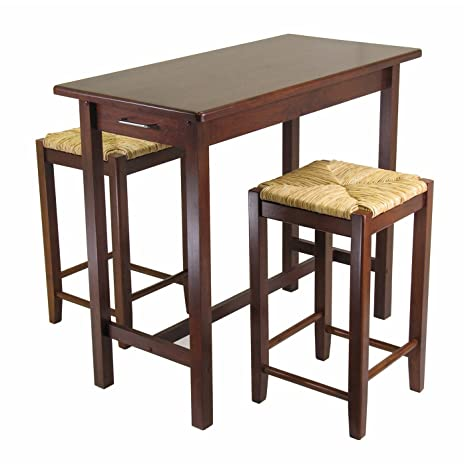 3pc Kitchen Island Table with 2 Rush Seat Stools; 2 cartons