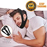 KPAO Adjustable Stop Snoring Chin Strap Anti-Snore Sleep Aid- SleepWell Naturally Comfortable (Black)