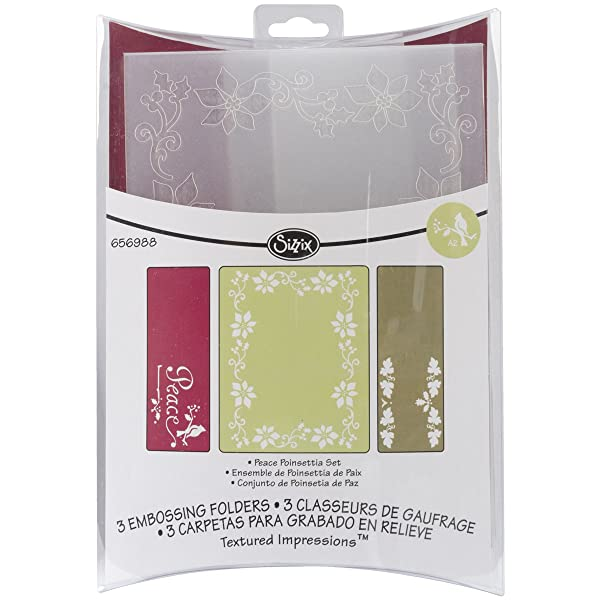 Sizzix 656988 Textured Impressions Embossing Folders, Peace Poinsettia Set by Rachael Bright, Pack of 3, Multicolor (Color: Peace Poinsettia, Tamaño: 3-Pack)