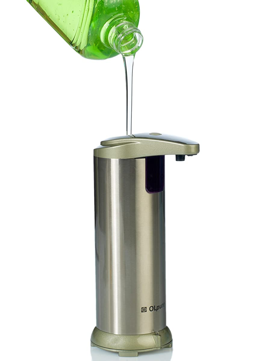OLpure Automatic Soap Dispenser Touchless Stainless Steel, Brush Polishing, Waterproof Base. comes with Oil Spray Bottle