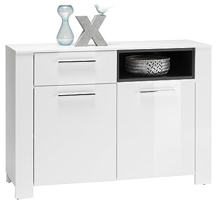 Stella Trading 36-281-13 Kommode Case 1, Holzdekor, weiß, 116 x 83 x 38 cm