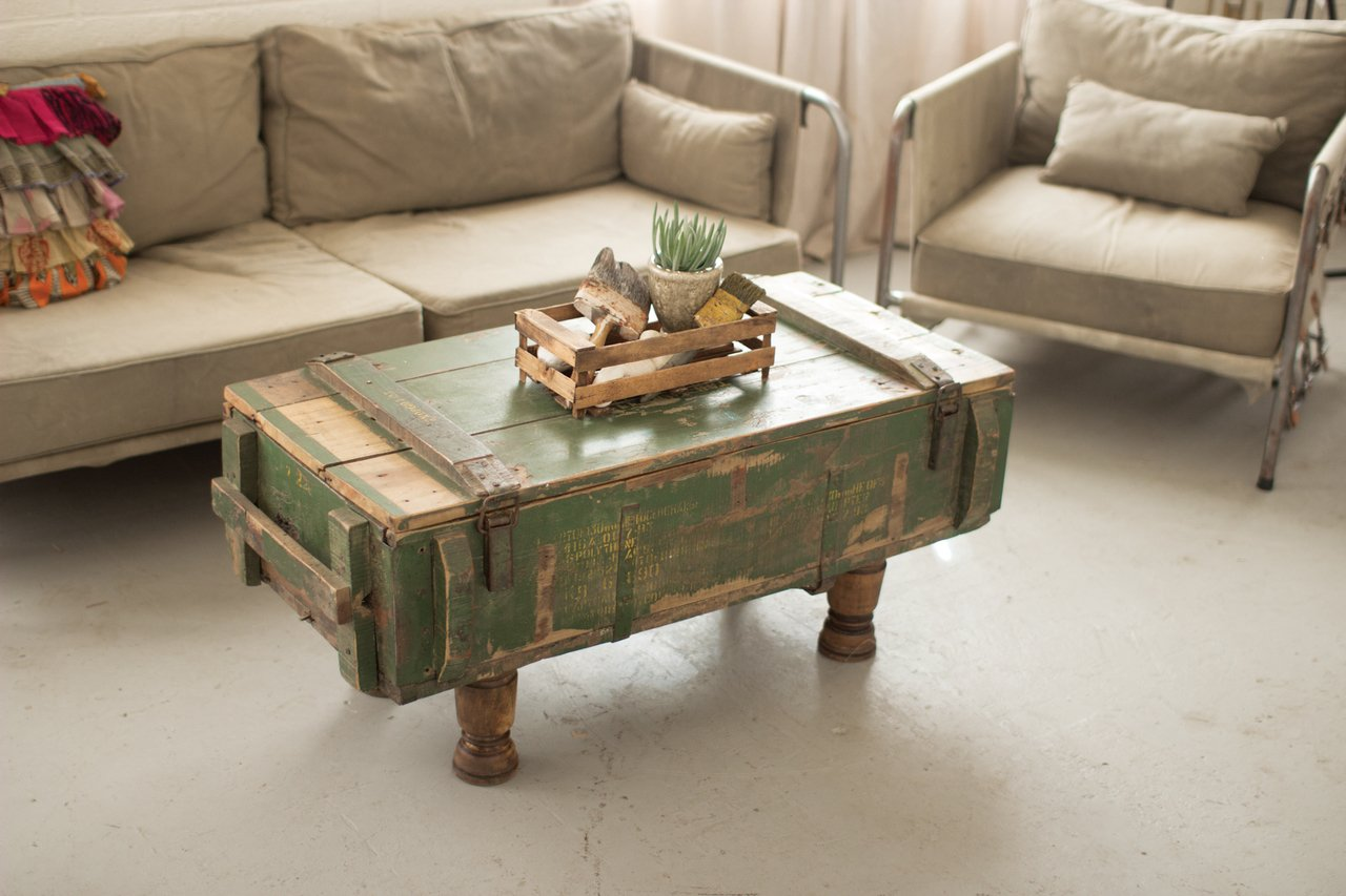 KALALOU NKK1175 ANTIQUE ARMY BOX COFFEE TABLE WITH TURNED WOOD LEGS 0