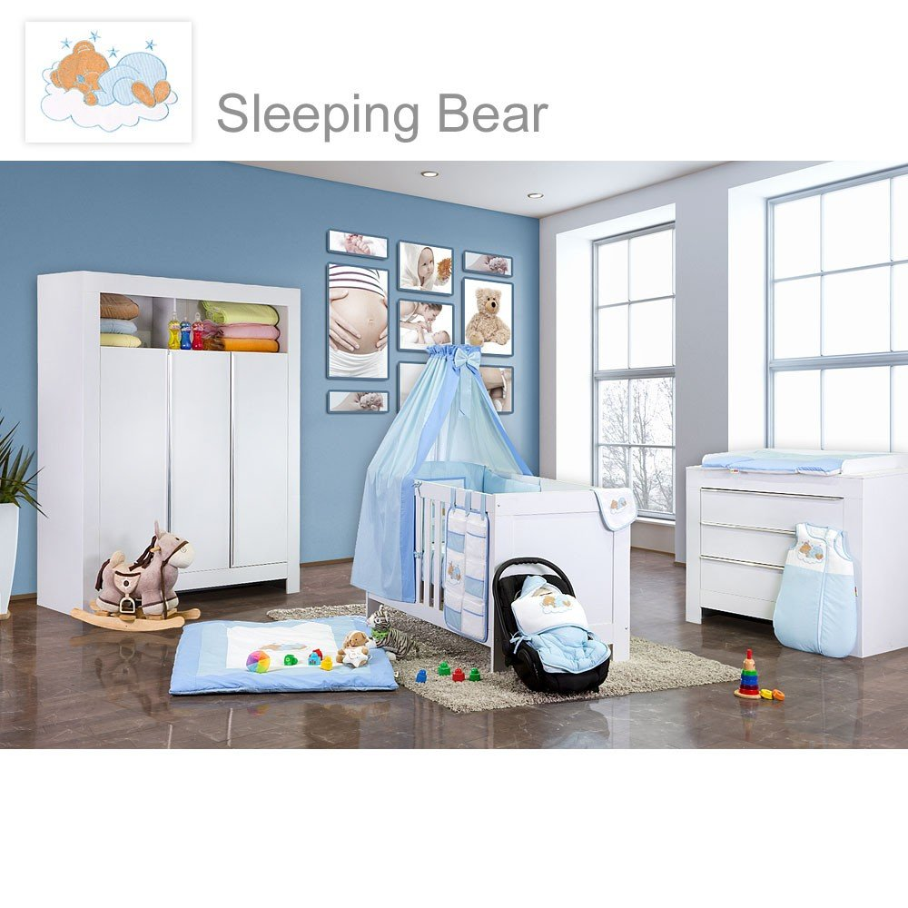 Babyzimmer Felix in weiss 19 tlg. mit 3 türigem Kl + Sleeping Bear in blau